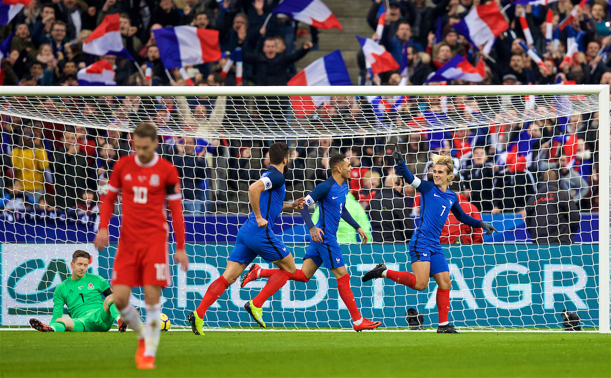 Griezmann celebrates his goal after giving France the lead in Paris.