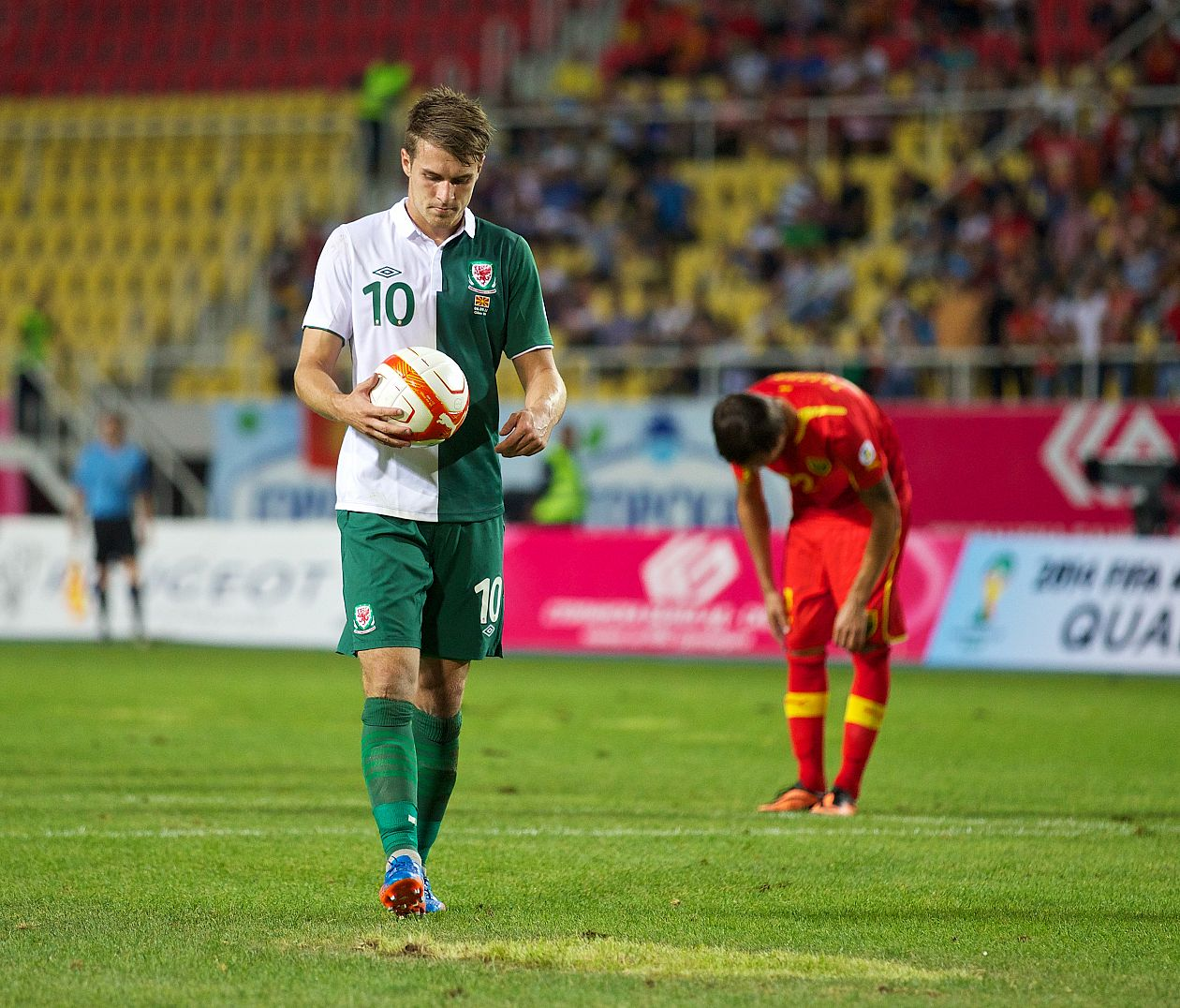 Ramsey gets ready to take a penalty against Macedonia in 2013.