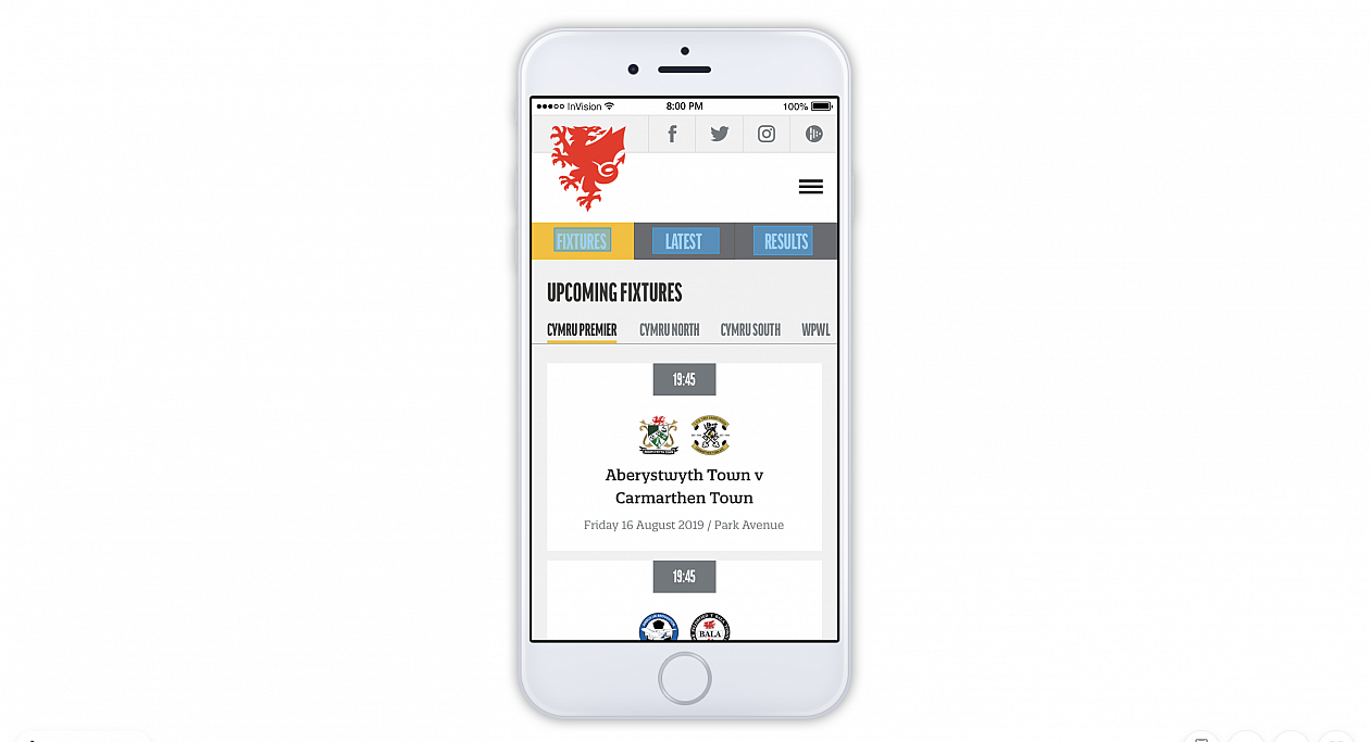 Visual impression of the new CymruFootball.Wales mobile website.