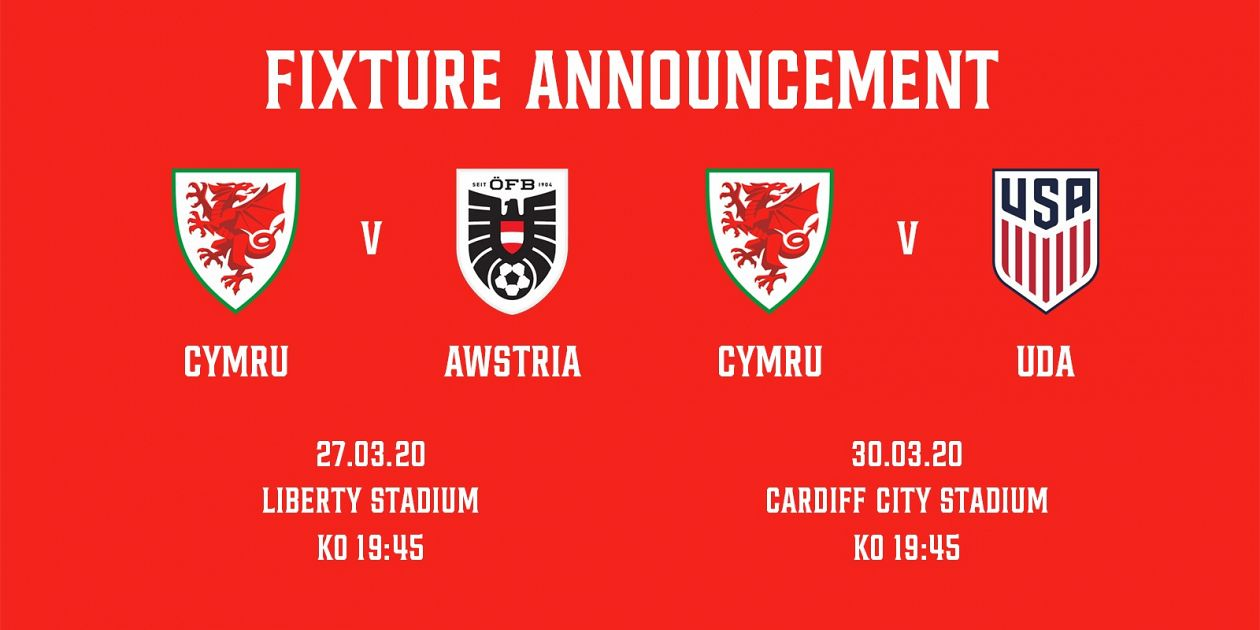 Cymru to face Austria in Swansea and USA in Cardiff for Euro 2020 preparation matches