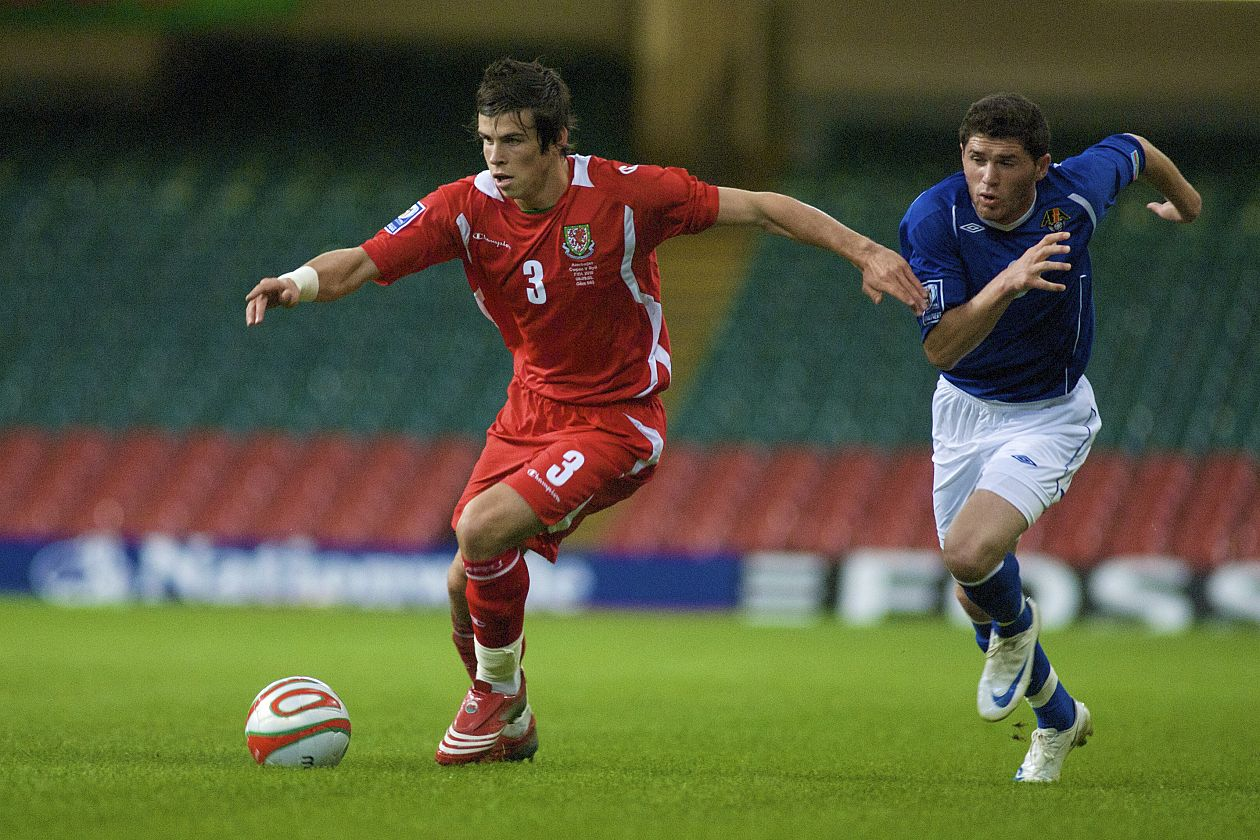 Gareth Bale on the attack against Azerbaijan in 2008.